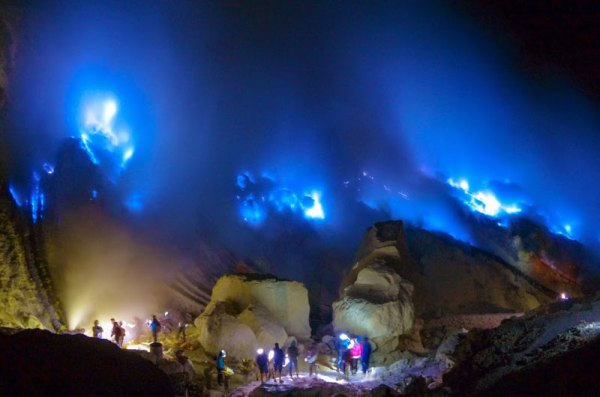 Blue flames Ijen Bromo indonesia
